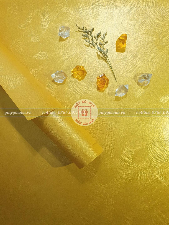 Giấy gói quà cao cấp sợi len màu vàng