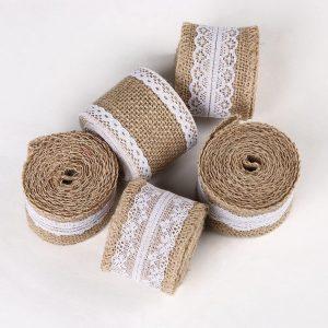 Ruy băng chất liệu vải bố kết hợp với ren trắng tinh tế
