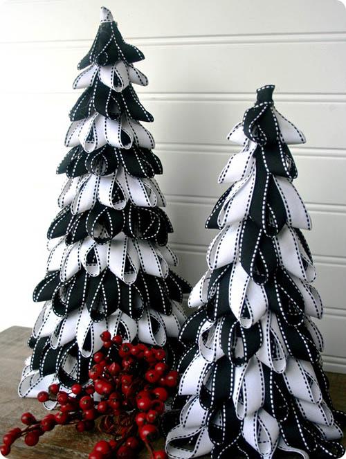 ý tưởng dùng ruy băng vải bản to 10cm trang trí noel độc đáo